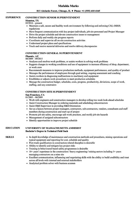 construction superintendent resume exle superintendent construction resume sles velvet