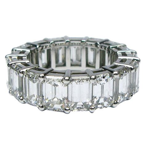 emerald cut platinum eternity band ring at 1stdibs