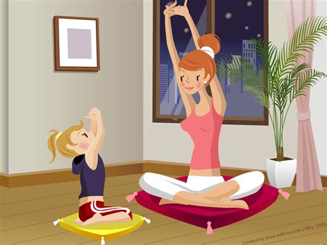 cartoon yoga wallpaper mother s day wallpapers vector wallpaper of mother s day