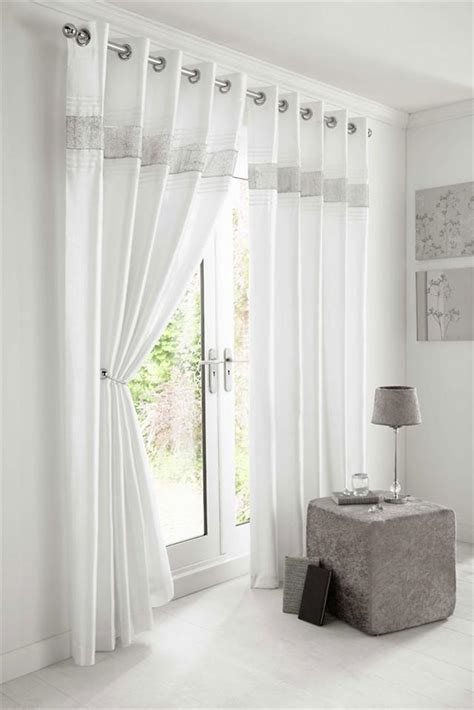 White Eyelet Curtains New Diamante Faux Silk Lined Curtains Black Silver Or White Eyelet Curtains Ebay