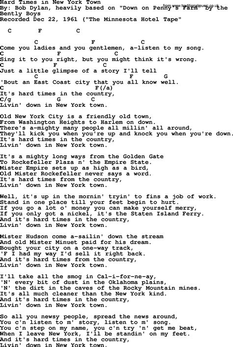 song nyc bob dylan song hard times in new york town lyrics and