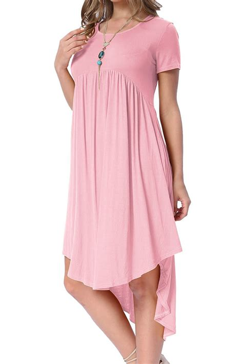 casual swing dress new in pink short sleeve high low pleated casual swing dress
