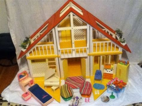 vintage barbie dream house vintage 1970 s a frame complete barbie dream house with furniture a
