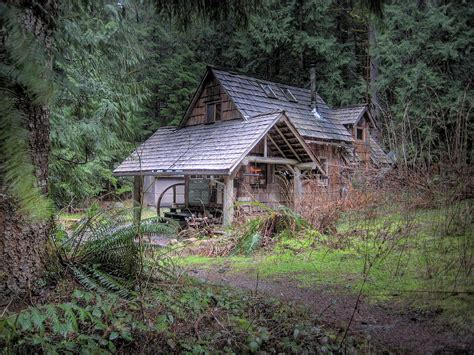 Woodland Cabins by Rustic Cabin Photograph By Linders
