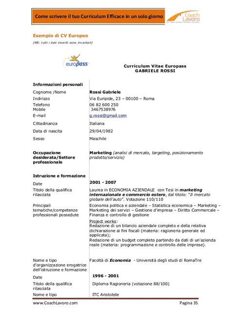curriculum cameriere curriculum efficace 2012