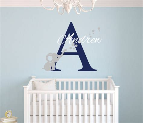 Name Wall Decal Elephant Wall Decal Nursery Baby Room Elephant Wall Decals Nursery