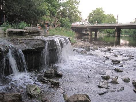 paddle boats gahanna ohio wading in a waterfall in creekside park in gahanna the