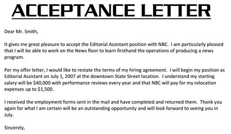Acceptance Letter For Contract Of Employment Acceptance Letter 3000 Acceptance Letter Exle