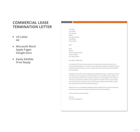 Terminating Commercial Lease Letter Sle lease termination letter templates 22 free sle