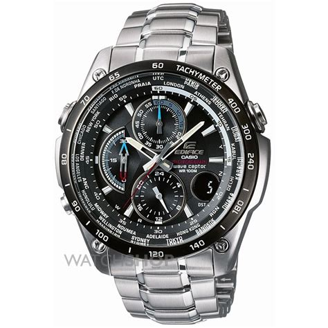 mens casio edifice wave ceptor alarm chronograph radio controlled  eqw dbe aver