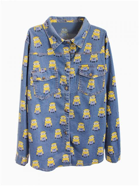 Risya Blouse Blue Mininos despicable me minions print denim shirt in blue abaday