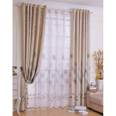 Discount Grey Leaf Polyester Cotton Shabby Chic Curtains