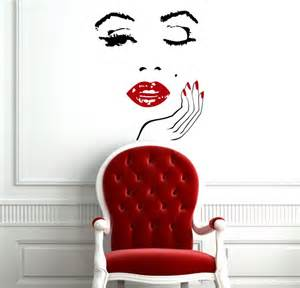Unique Wall Murals Unique Beautiful Woman Face Art Decal Wall Mural With Red
