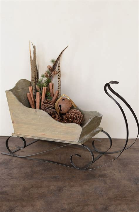 Decorative Sleigh by Large Wood Metal Sleigh 24in