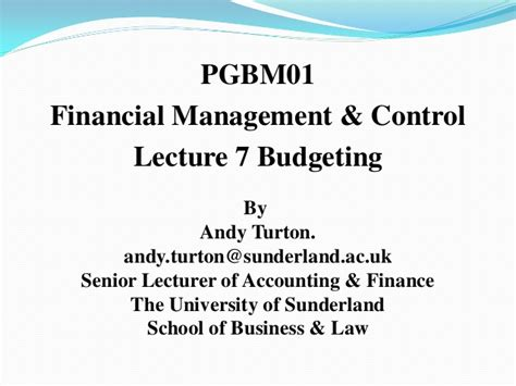 Of Sunderland Mba Finance by Pgbm01 Mba Financial Management And 2015 16
