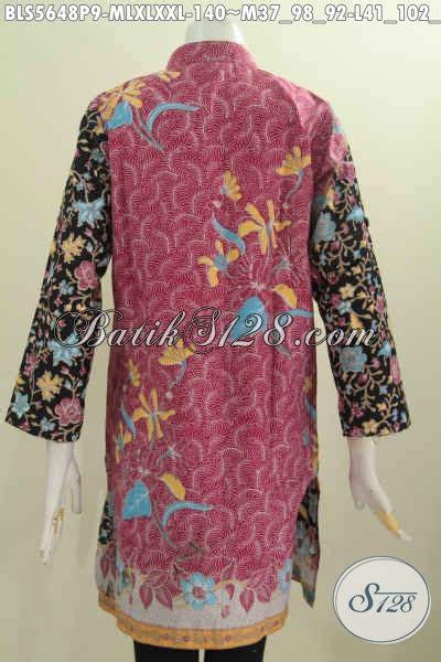 Blus Batik Shanghai Panjang 78 blus batik dua warna baju muslim batik lengan panjang motif bunga pake kerah shanghai proses