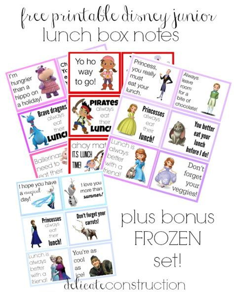 printable lunch box disney lunch box notes back to school the benson street