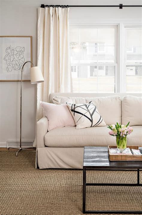armless sectional sofa transitional living room tan linen armless sofa with chaise lounge and arc floor