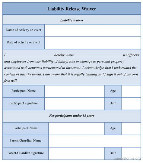 liability waiver form template sle waiver of liability form free printable documents