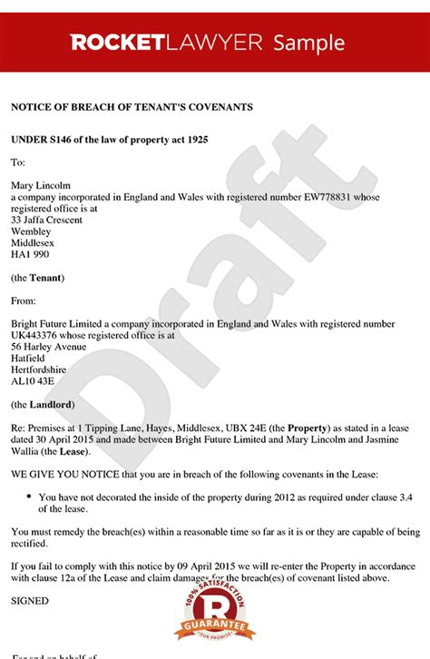 Breach Of Lease Letter Template S146 Notice Notice Of Breach Of Covenants Section 146 Notice