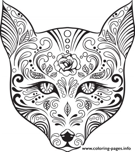 day of the dead cat coloring pages advanced cat sugar skull coloring pages printable