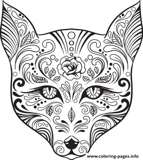 printable coloring pages sugar skulls print advanced cat sugar skull coloring pages five