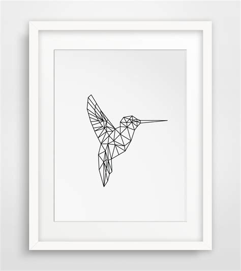 printable wall art pattern printable art geometric animal hummingbird by