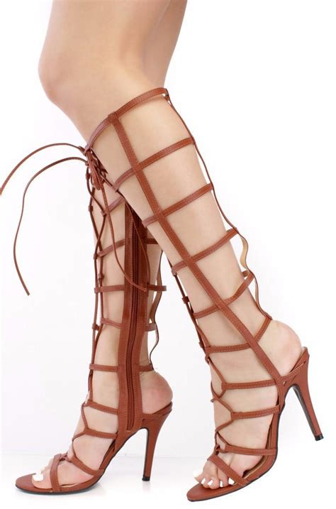 jody caged open toe lace up knee high boots from 12