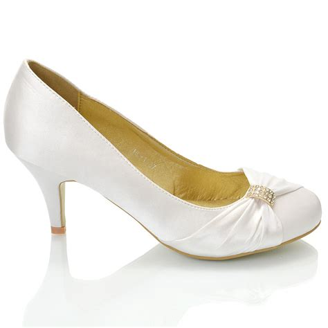 womens wedding bridal stiletto low heel satin