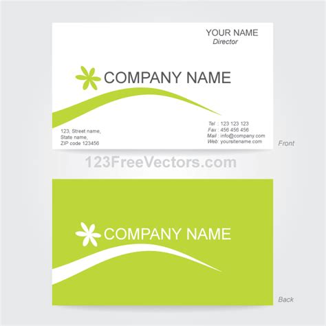 business card back template business card template illustrator 123freevectors