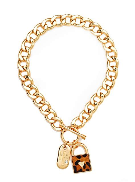Guess Leopard Chain gold tone leopard print haircalf necklace guess ca