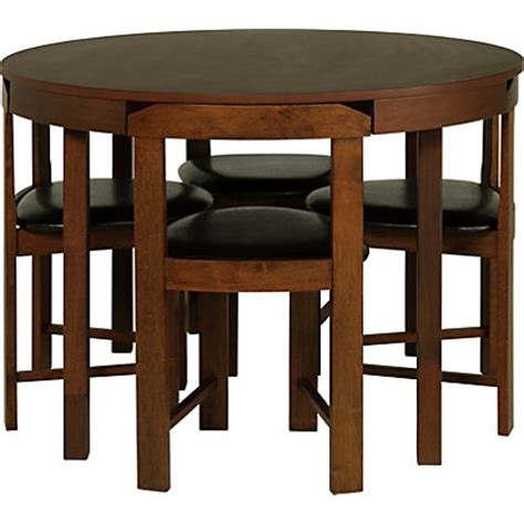 Hygena Alena Wood Stain Circular Dining Table And 4 Chairs Homebase Dining Table And Chairs