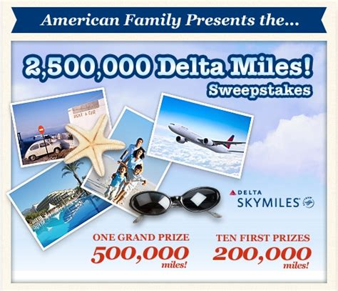 American Family Sweepstakes - 2 500 000 million point skymiles giveaway american family sweepstakes ren 233 s