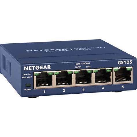 gigabit switch 5 netgear prosafe 5 gigabit desktop switch gs105na b h