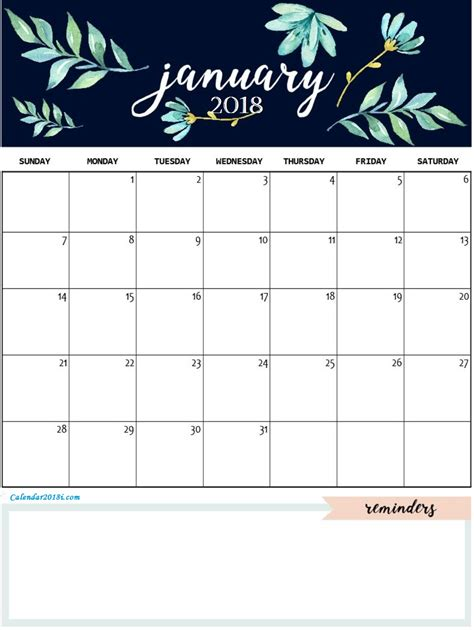 January 2018 Personalized Calendar Calendar 2018 Custom Photo Calendar Template