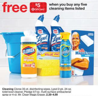 target purchase  select cleaning products    target gift card  clorox wipes