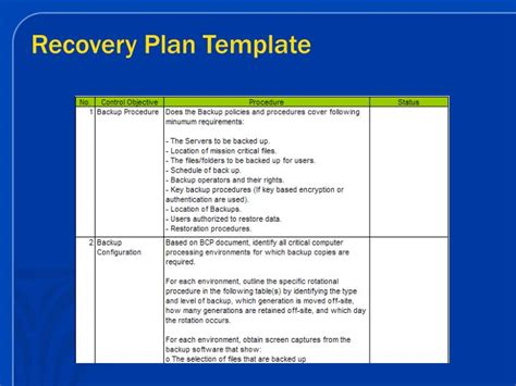 recovery plan template ppt application monitoring powerpoint presentation id