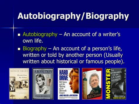 biography and autobiography powerpoint ppt nonfiction unit powerpoint presentation id 68087