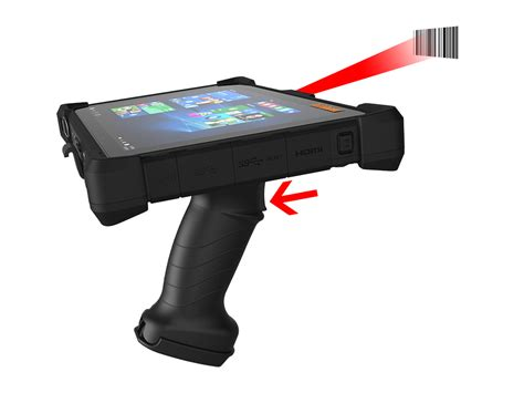 rugged tablet with barcode scanner scan handle transforms rugged tablet into barcode scanning workhorse