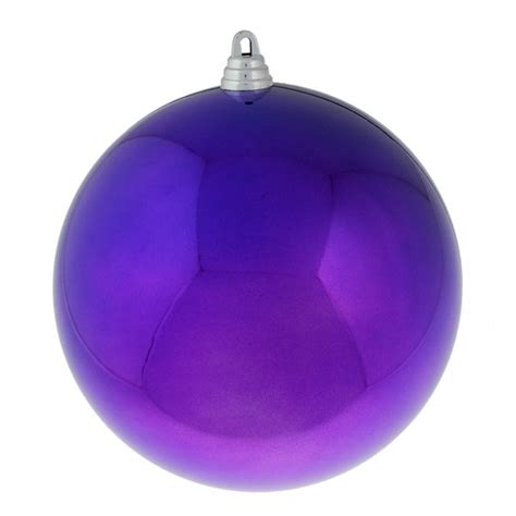 purple baubles shiny shatterproof single 200mm