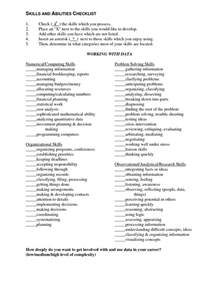 resume sle of skills and abilities resume sles