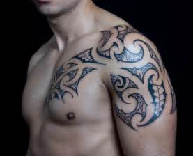 shoulder chest tribal tattoo by c jay tattoo