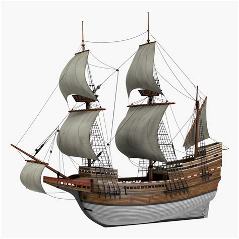 world cat boat models sailing ship mayflower 3d model
