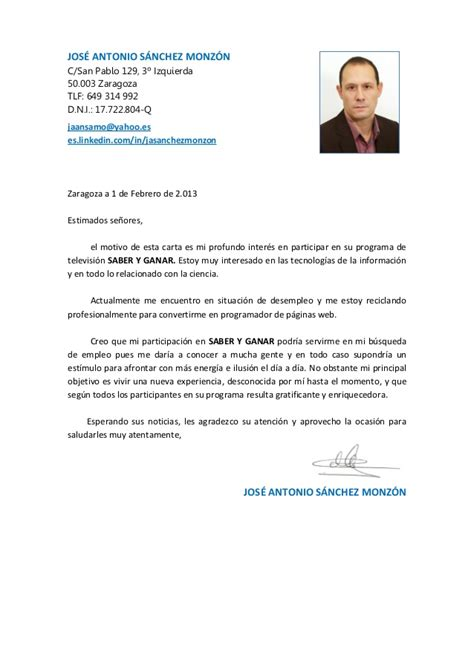 Modelo De Carta De Presentacion Con Curriculum Vitae Carta Presentacion Saber Y Ganar