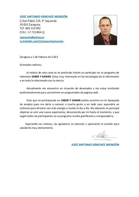 Modelo Carta De Presentacion Curriculum Argentina Carta Presentacion Saber Y Ganar