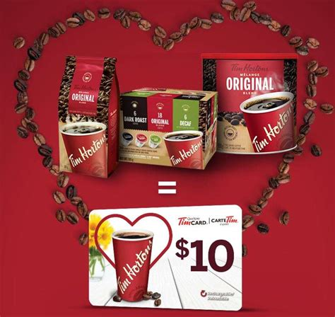 Buy Canadian Gift Cards Online - tim hortons get a 10 gift card when you buy 3 participating products canadian