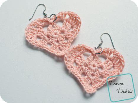 free crochet pattern heart earrings kylie hearts free crochet patterns divine debris