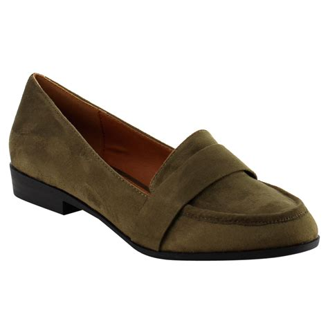 s slip on loafers s slip on block heel loafers ebay