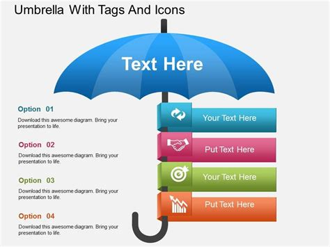 umbrella pattern antenna ppt hj umbrella with tags and icons powerpoint template