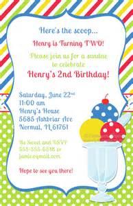 Graduation Center Pieces Boy Ice Cream Sundae Birthday Party Invitations